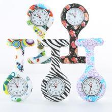 Портативный печатные цифры круглый циферблат силикон медсестра часы брошь туника цифры часы женские женские доктор медицинские часы Christma
