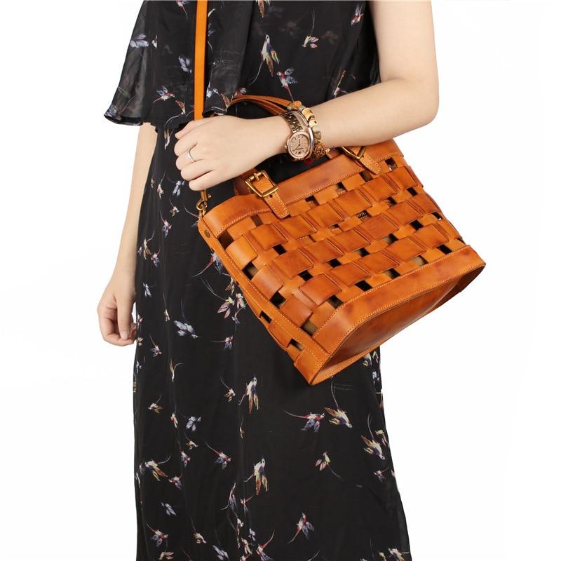 Genuine leather handmade woven zipper handbag with strap for women