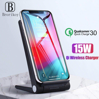 15W Qi Wireless Charger Dock for Samsung Galaxy S10 S9 S8 Plus iPhone X Xs Max Adapter 2 Coils Note 8 9 Wireless Charging Dock
