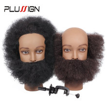 Traininghead Afro Mannequin Head 100% Human Hair Training Head Manikin Cosmetology Doll Head For Hairdresser With Clamp Stand(China)