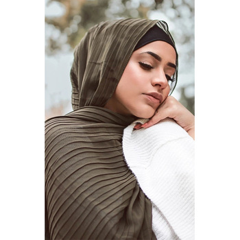 Fashion plain pleat bubble chiffon wrinkle long stripe shawls hijab crumple muslim scarves/scarf big size scarf