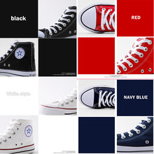 2020 Women Fashion Vulcanized Shoes Woman Sneakers Solid Retro Shoes Flat Fashion Comfortable red Blue white High Shoes Women(China)