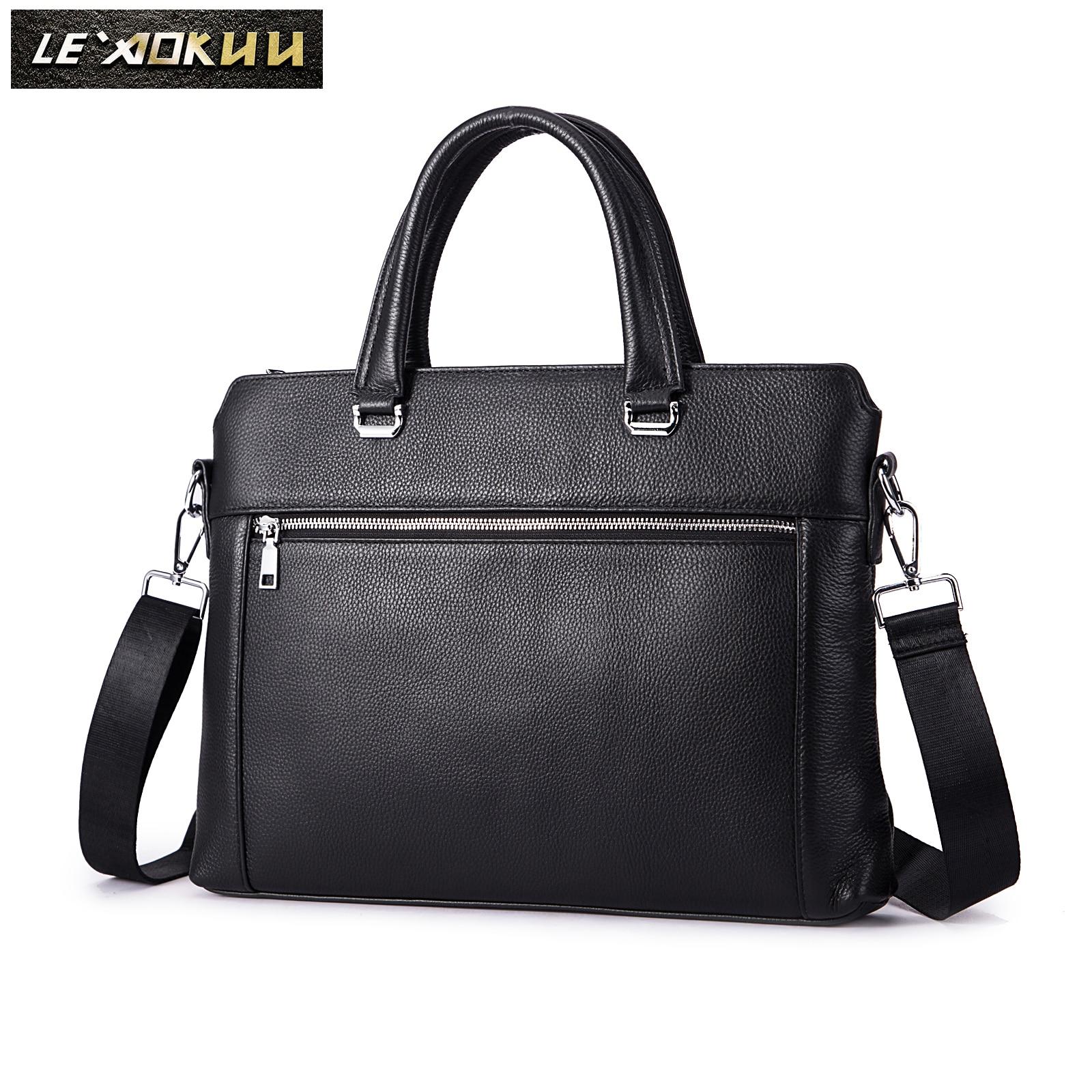 Men Genuine Leather Luxury Office Maletas Business Briefcase 15