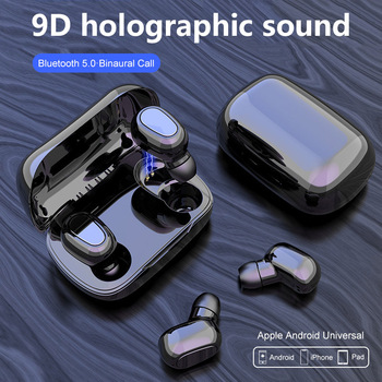 Bluetooth Earphone Wireless Earbuds 5.0 TWS Dual Headset 9D Bass Sound Noise Conceling Sport fone bluetooth for PC IOS Android