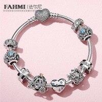 2020 100% 925 Sterling Silver 1:1 Classic Fairy Tale Snowflake DREAM Pompoen Koets CHARM Crown Beaded Bracelet Set