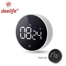 Deelife-Temporizador Digital magnético para cocina, cronómetro para ducha, estudio, reloj electrónico mecánico, tiempo de cuenta atrás