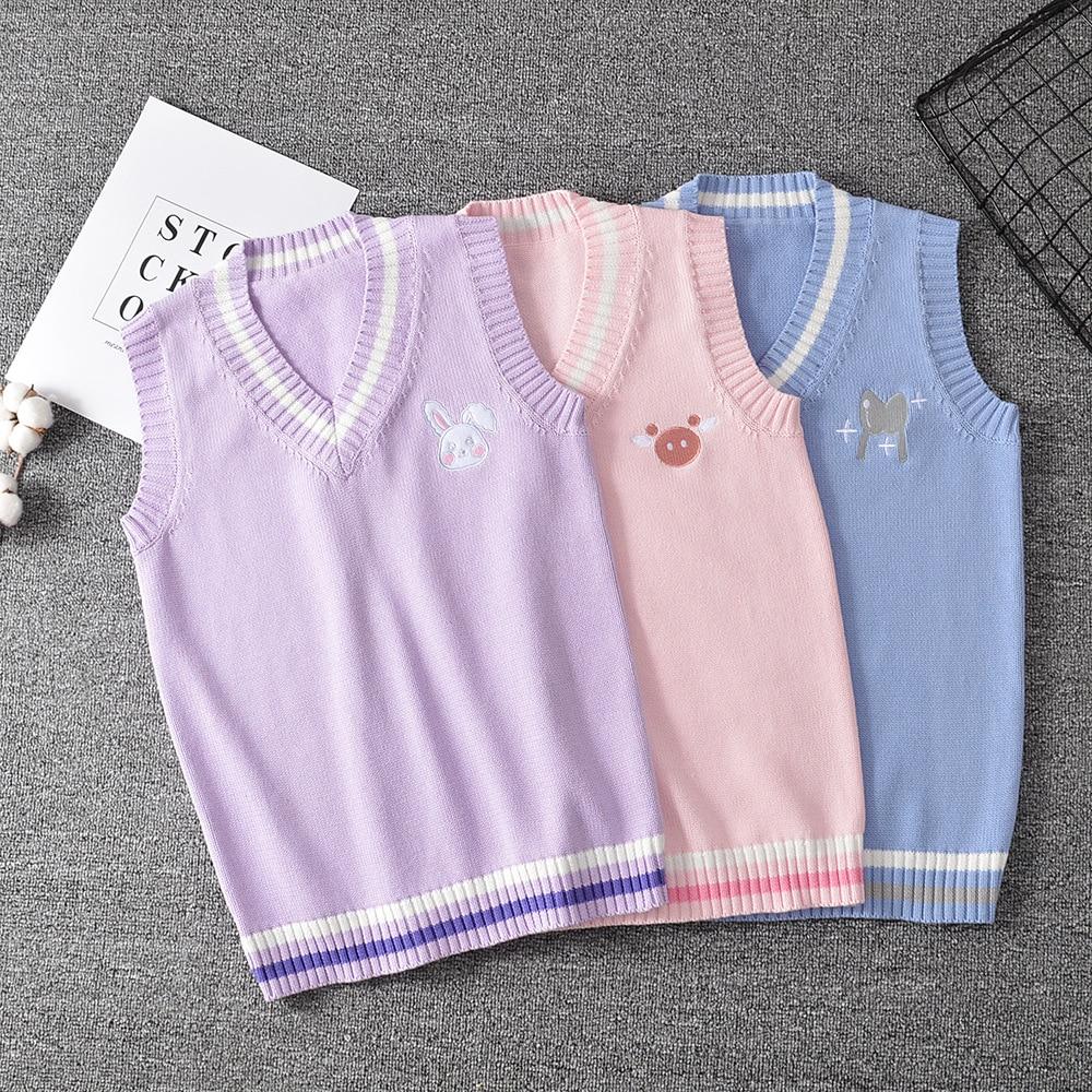 Japanese JK Sweater vest solid color cute cosplay pullover Girl school Rabbit little animal purple blue pink