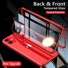 Camera Protection Magnetic Flip Phone Case For iphone 11 Pro Max 7 8 Plus X XR Xs 11pro Max SE 2020 Tempered Glass Metal Cover privacy tempered glass magnetic case for iphone 11 pro max xs max xr x 8 7 6s 6 plus se magnet metal bumper anti peeping cover