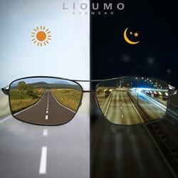 Lioumo topo fotocromático óculos de sol óculos de camaleão polarizados óculos de condução anti-reflexo zonnebril heren