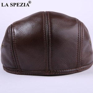 Image 2 - LA SPEZIA Classic Beret Caps Men Warm Genuine Leather Caps Ivy Windproof Duckbill Hat Burgundy Winter Luxury Brand Flat Hats