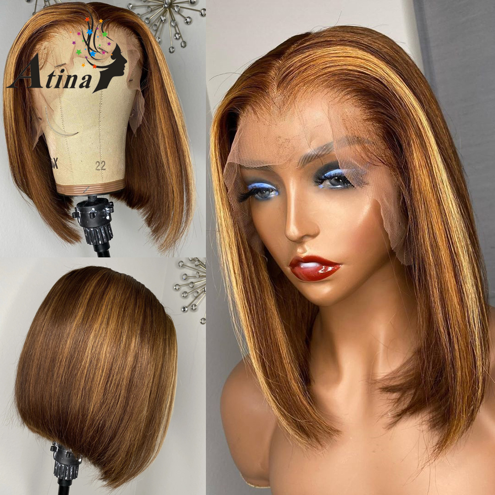 HD Transparent 13x6 Lace Front Human Hair Wigs Pre Plucked Brazilian Remy Ombre Highlight Wig Short Straight Bob Wig 150 Density