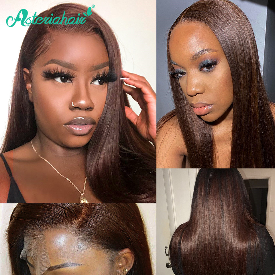#4 Colored Lace Front Human Hair Wigs Brazilian Straight Human Hair Wigs For Black Women Pre Plucked Remy Asteria Hair Wigs