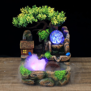 Image 1 - Led Lights Resin Rockery Flowing Water Fountain Lucky Feng Shui Wheel Office Desktop Ornaments With Nebulizer Home Decoration