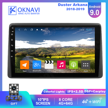 For Renault Duster Arkana Car Radio 2018 2019 Android 9.0 Multimedia Video Stereo DVD Player GPS Navigation Carplay DSP NO 2 Din image