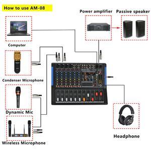 Image 5 - LOMOEHO AM 08 4 MONO + 2 สเตอริโอ 8 ช่องBluetooth USBอินเทอร์เฟซคอมพิวเตอร์บันทึก 48V Phantom Professional DJ Mixer