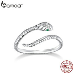 bamoer Genuine 925 Sterling Silver Snake Size Open Adjustable Finger Rings for Women Statement Wedding Jewelry SCR666