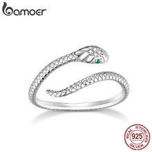Bamoer Sterling Silber Platin Überzogene Einstellbare Ring, Grün Zirkon Retro Texturen Schlange Ring Mode Schmuck SCR666
