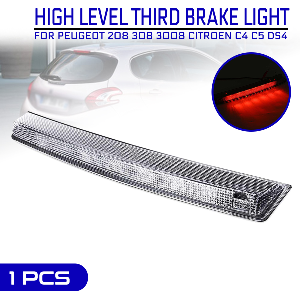 Car Additional High Brake Stop <font><b>Light</b></font> Third High Mount Turn Signal <font><b>LED</b></font> Lamp for <font><b>Peugeot</b></font> 208 <font><b>308</b></font> 3008 For Citroen C4 C5 DS4 image