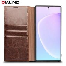 QIALINO Genuine Luxo Capa de Couro Do Telefone para Samsung Galaxy Note 10 Handmade Do Caso Da Aleta com Slots de Cartão para Galaxy Note 10 +