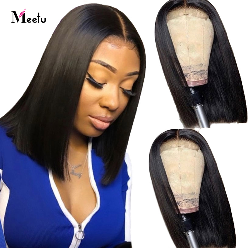 Straight Short Human Hair Wig 13X6 Lace Frontal Wig Straight Bob Lace Front Wigs Meetu Hair Brazilian Lace Front Human Hair Wigs