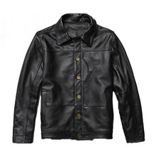 2020 New Men Black Motorcycle Cow skin Leather Jacket Casual Single Breasted Slim fit Jackets Winter Coats Free Shipping(China)