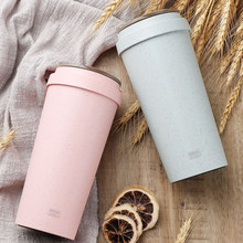 High Quality Pastoral Wheat Fiber Hand Milk Cups Cola Coffee Cup Student Sport With Cover Accessible Thermo Lid Drinking Water