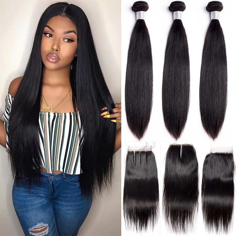 Alibele Brazilian Straight Hair Bundles With Closure Brazilian Hair Weave Bundle  Remy Human Hair 3 Bundles With Lace Closure