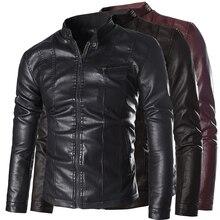 Мужские кожаные куртки и высокое-класс пальто моющийся кожа PU равнине стенд воротник мотоцикл мужская кожаная куртка