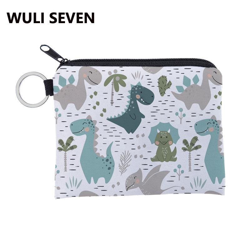 WULI SEVEN Cute Women Girls Dinosaur Coin Purse Printing 3D Cartoon Dinosaur Kids Key Wallet Children Change Purse