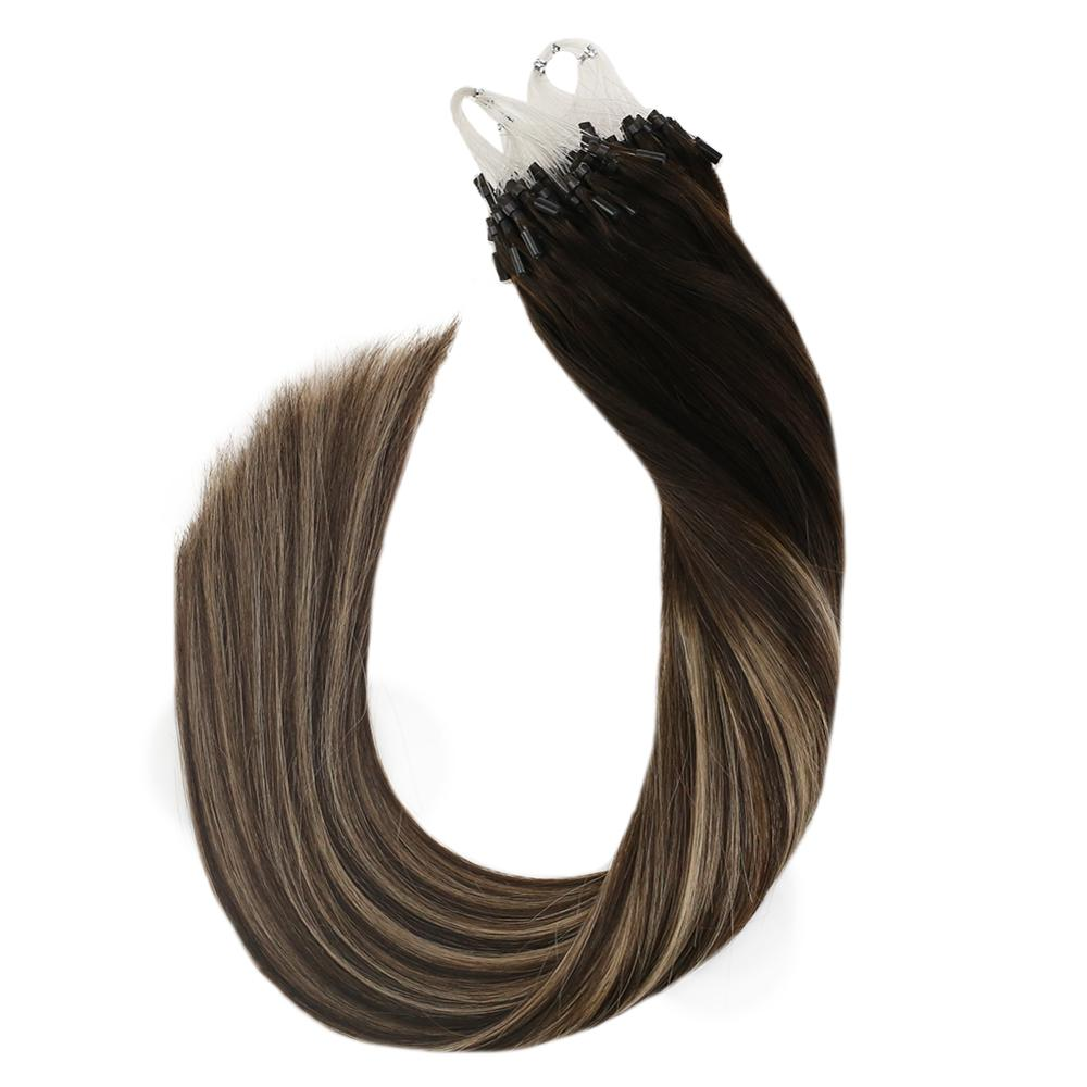 Ugeat Micro Loop Human Hair Extensions Straight 4/18/4 Machine Remy Hair 14-24inch 50g/100g Micro Ring Hair Extensions