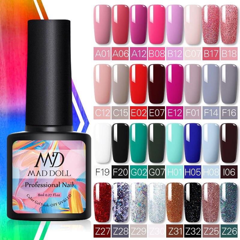 MD DOLL 8ml Sparkling Glitter Nail Gel Polish Shinning Sequins UV LED Painting Gel Lacquer Primer Varnish For Manicure