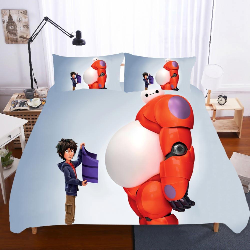 Home Textiles Bed Linen Baymax Ropa De Cama Wedding Gift Sabanas King Size Bedding Set Bed Linen Coarse Calico Bed Linen Poplin