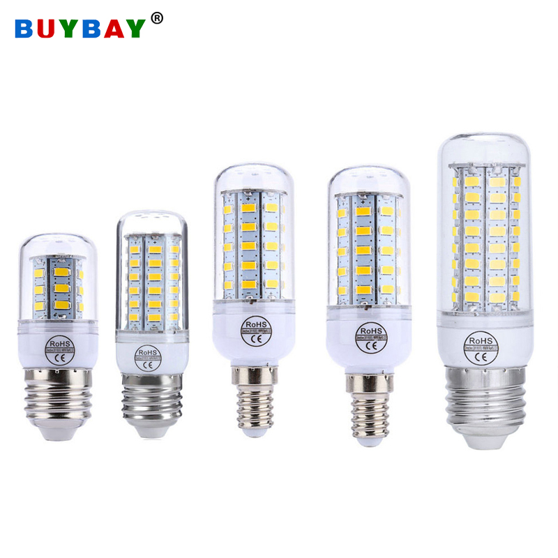 4pcs/lot E27 LED Lamp E14 Led Bulb 110V 220V SMD5730 Chandelier Candle Light 24 36 48 56 72leds Corn Bulb For Home Decor Ampoule