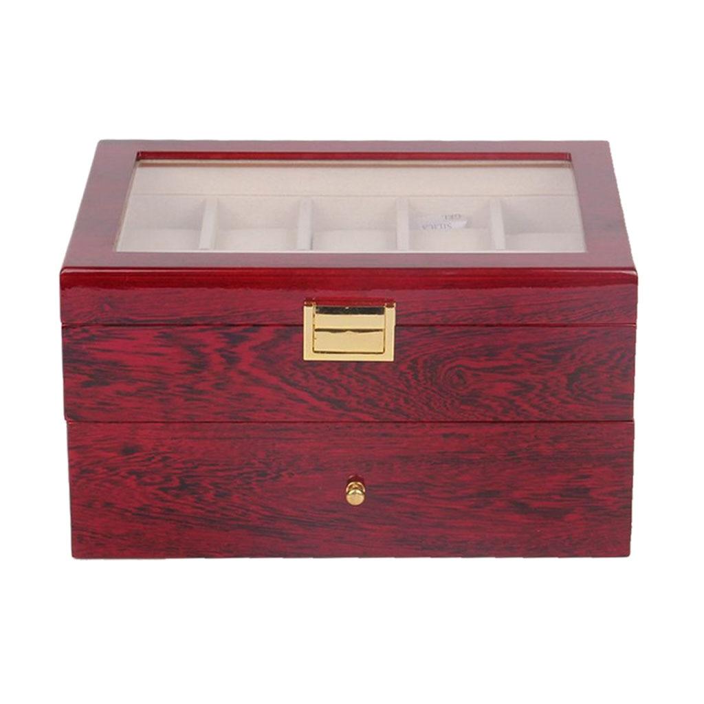 20girds en bois montre organisateur montre-bracelet bijoux boucle d'oreille boîte de cadeaux de luxe