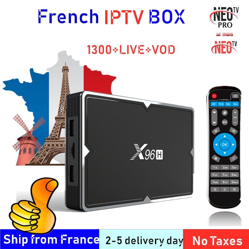 Meilleure boîte IPTV française X96H Android 9.0TV avec 1300 + 1 an IPTV Europe France arabe afrique maroc football Smart IP TV Box