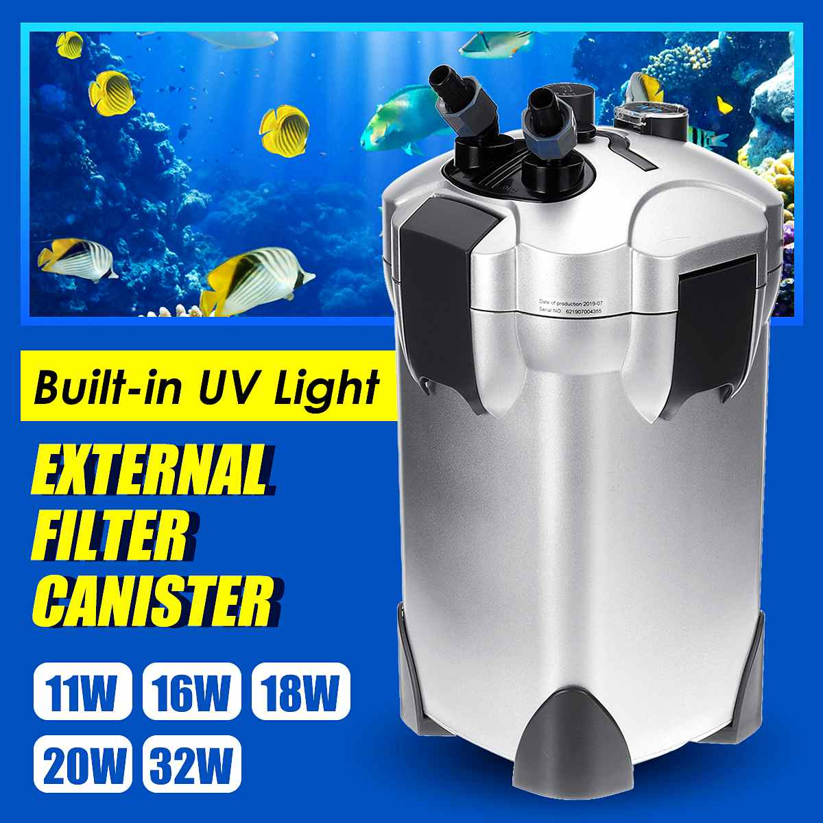 Aquarium Filter Purifier Sterilizer UV Lamp Light Fish Tank Water Pump Biochemical Sponge Bio Sponge External Canister Filter