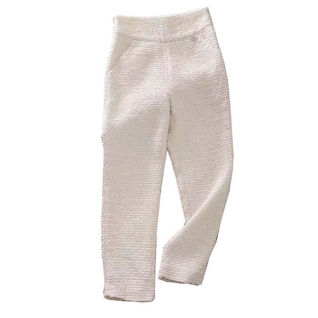 2019 nouvelle mode printemps rétro décontracté taille haute Tweed pantalon femmes pantalon OL femme élégant pantalon costume pantalon Y275