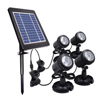 Solar Powered Underwater Night Light 4 Submersible Warm White Lamps Landscape Spotlight for Garden Pool Pond Outdoor Decoration