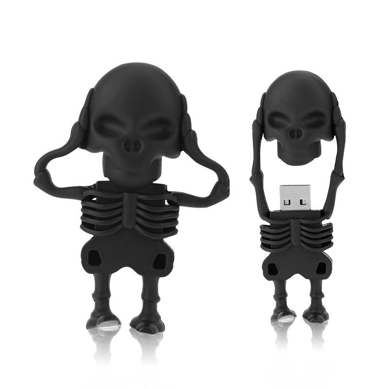 Cool Skull Skeleton Headshot Grim Reaper The Death Ghost USB Flash Drive Real 32GB 16GB 64GB 128gb Zombies Memory Stick U Disk