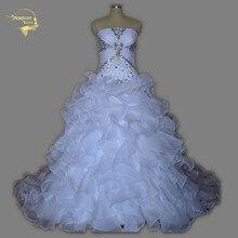 Настоящая фотография, низкая цена, лучшее качество, ТРАПЕЦИЕВИДНОЕ свадебное платье без бретелек,, с оборками, Vestidos De Noiva, кристаллы, Casamento UY1379