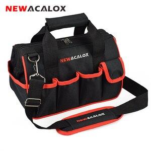 """Image 1 - NEWACALOX 12 """"حقيبة أدوات صغيرة رشاقته الأجهزة المهنية كهربائي إصلاح تخزين العمل حقيبة حامل 600D إغلاق أعلى واسعة الفم"""