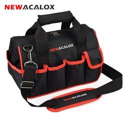 Newacalox 12 sacos de ferramentas pequeno engrossar ferragem profissional eletricista reparação armazenamento saco trabalho titular 600d fechar superior boca larga