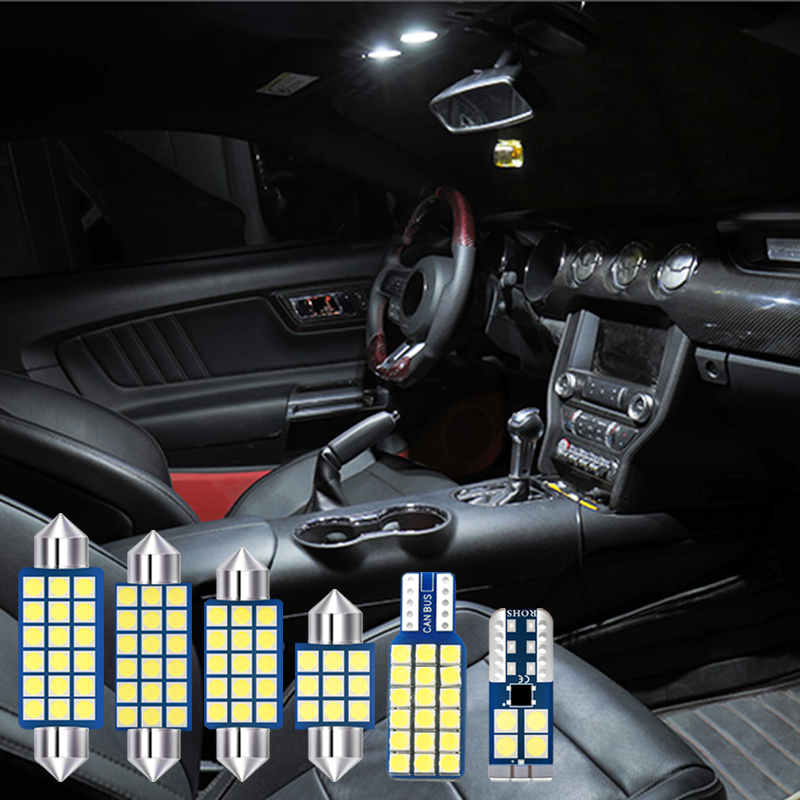 3pcs LED Bulbs Car Interior Lighting Kit White Reading Lamp fit For Ford Mustang 2010 2011 2012 2013 2014 2015 2016 2017 2018