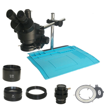 Podwójne ramię wsparcie 3.5X 90X przemysłowe trinokularnej mikroskop stereo 0.5X 2.0X CTV1/2 obiektyw barlowa, naprawa elektroniki