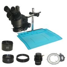 Çift kol desteği 3.5X 90X endüstriyel trinoküler stereo mikroskop 0.5X 2.0X CTV1/2 objektif lens barlow elektronik tamir