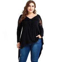 Irregular Long Sleeve V Neck Lace T Shirt Plus Size Women Black Tops Hollow Out Tee Shirt Large Size Female Chemise Blusas D30 plus size cowl neck long sleeve tee