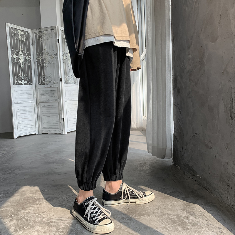 Men's casual pants 2019 autumn and winter new retro loose beam casual pants young people personality fashion men's clothing