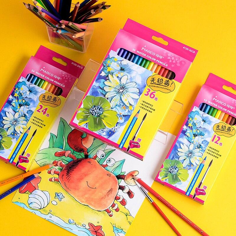 Marco Water color Pencils Set 12/24/36 Colors Water Soluble Drawing Painting Pencils lapis de cor Colored Pencils For Kids 4120|  - title=