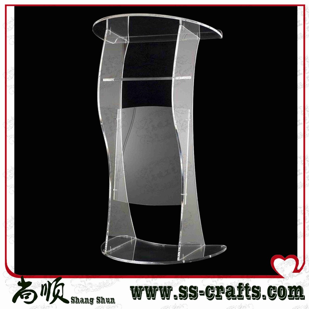 FREE SHIPING Modern Design Factory Sale Transparent Crystal Acrylic Lectern Cheap Church Podium