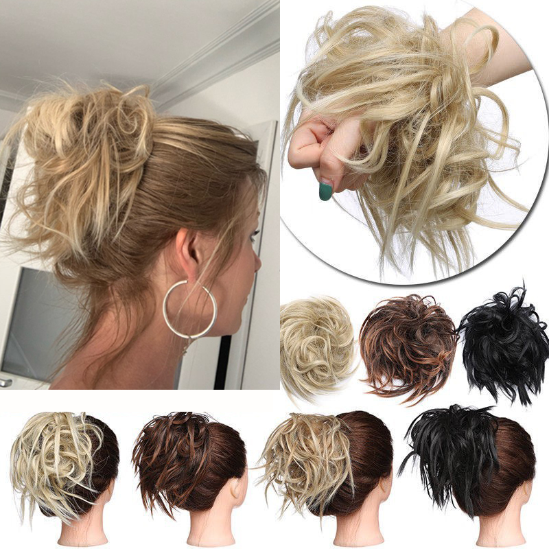 Synthetic Hair Ring Blonde Wrap For Hair Extension  Donut Curly Wig  Hair Pieces Wrap Rubber Band Hair Tail Ponytail Accessory